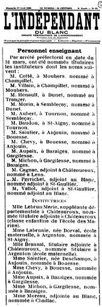 Avis de mutation de Eugène MICHON et Eugénie MICHON-VALLÉE en date du 17 avril 1898 : ils quittent Gargilesse et sont nommés à Bazaiges à la place du couple AUPAIX qui s'installe lui à Gargilesse